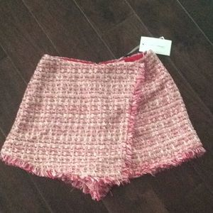 Pink and red tweed wrap shorts S